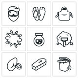 Vector Set of Cleaning after the murder Icons. Stock Photo