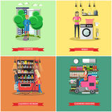 Vector set of cleaning service concept banners Stock Photography