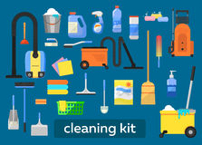 Vector set of cleaning tools. Stock Photos
