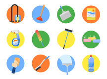 Vector set of cleaning tools. Royalty Free Stock Photo