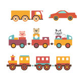 Vector set clip art construction machinery of toys for children. Royalty Free Stock Images