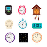 Vector set of clocks and timers. Vector set of analog and digital clocks and timers Royalty Free Stock Photo