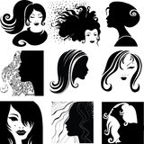 Vector set of closeup - beautiful woman Royalty Free Stock Photos
