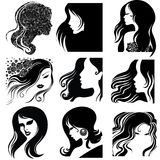 Vector set of closeup portrait. Vector set of closeup silhouette portrait of beautiful woman with long hair (From my big Vintage woman collection stock illustration