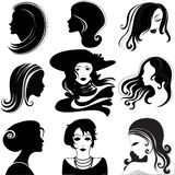 Vector set of closeup portrait of beautiful woman. Vector set of closeup silhouette portrait of beautiful woman with long hair (From my big Vintage woman royalty free illustration