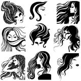 Vector set of closeup portraits. Vector set of closeup silhouette portrait of beautiful woman with long hair (From my big Vintage girl collection stock illustration