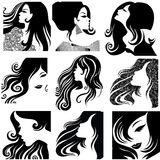 Vector set of closeup portraits of beautiful woman Royalty Free Stock Photography