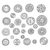 Vector set of cloth buttons in different boho style designs with Stock Photo