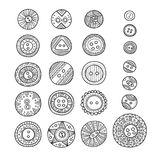 Vector set of cloth buttons in different boho style designs with Royalty Free Stock Photos