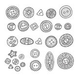 Vector set of cloth buttons in different boho style designs with Stock Image