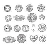 Vector set of cloth buttons in different boho style designs   Royalty Free Stock Photo