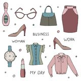 Vector set of clothes and accessories collection on white. Vector set of women clothes and accessories Stock Photo