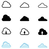 Vector Set of Cloud Icons. Color, Silhouette and Outline Variations Royalty Free Stock Photography