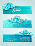 Vector set of clouds horizontal banners. Stock Images
