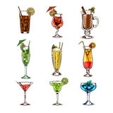 Vector set of cocktail glasses Royalty Free Stock Photo