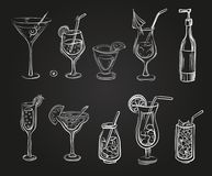 Vector set of cocktail glasses Royalty Free Stock Images