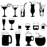 Vector Set of Cocktails and Alcohol Drinks Stock Photo