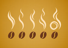 Vector set of coffee beans with steam Royalty Free Stock Photos