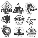 Vector set of coffee and cafe labels in vintage style. Design elements, emblems, badges, icons. Royalty Free Stock Image