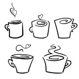 Vector set of coffee cups icons Stock Images