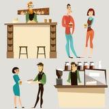 Vector coffee bar people icon set Stock Image