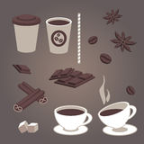 Vector set of  coffee items, coffee cups, pieces of chocolate, star anise, coffee beans, cinnamon, hot and cold drinks Royalty Free Stock Images