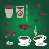 Vector set of  coffee items Stock Images