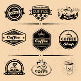 Vector set of coffee labels, design elements Stock Photo