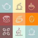 Vector set of coffee logos and icons Stock Image