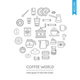 Vector Set of Coffee Modern Flat Thin Icons Inscribed in Round S Stock Photo