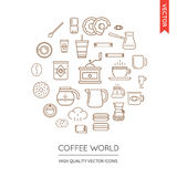 Vector Set of Coffee Modern Flat Thin Icons Inscribed in Round S Stock Photos