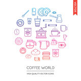 Vector Set of Coffee Modern Flat Thin Icons Inscribed in Round S Royalty Free Stock Photography