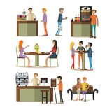 Vector set of coffee room design elements in flat style Royalty Free Stock Image