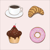 Vector set with coffee and sweets. 4 nice pictures: cup of coffe, croissant, cupcake and donut Royalty Free Stock Photo