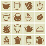 Vector set of coffee and tea icons. Cups, mugs, pots in flat retro style Stock Photography