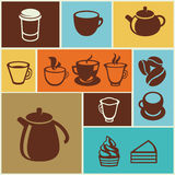 Vector set of coffee and tea icons Royalty Free Stock Photography