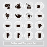 Vector set of coffee and tea icons, for shops Stock Image
