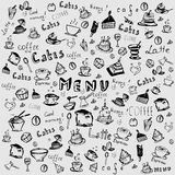 Vector set on a coffee theme. Drawing by hand. Background Royalty Free Illustration