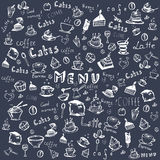 Vector set on a coffee theme. Drawing by hand. Background Stock Illustration