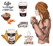 VECTOR set of coffee theme vintage elements Stock Photo