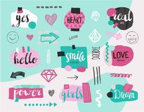 Vector set of collage girlish banners, tags. Hand drawn design elements, doodle art with textures, modern trendy labels. With lettering royalty free illustration