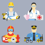 Vector set collection icons of color professions equipment vector illustration. Vector set collection icons of professions equipment vector illustration Stock Photo