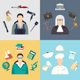Vector set collection icons of color professions equipment vector illustration. Vector collection icons of color professions equipment vector illustration Royalty Free Stock Photography