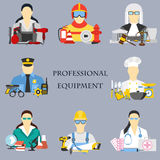 Vector set collection icons of color professions equipment vector illustration Stock Photo