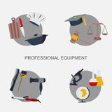 Vector set collection icons of color professions equipment vector illustration. Vector illustration of collection icons of color professions equipment vector Royalty Free Stock Photography