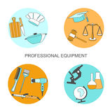 Vector set of collection icons of color professions equipment vector illustration. Vector illustration of collection icons of color professions equipment vector Royalty Free Stock Photos