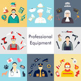 Vector set of collection icons of color professions equipment vector illustration. Vector illustration of collection icons of color professions equipment vector Stock Images