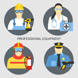 Vector set collection icons of color professions equipment vector illustration. Vector set collection icons of professions equipment vector illustration Royalty Free Stock Image