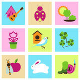 Vector set collection icons of color springs symbols Royalty Free Stock Photo