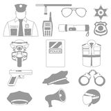 Vector set collection icons of police equipment  illustration Stock Photo